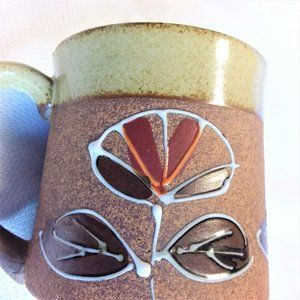 Vintage Pottery Coffee Mugs Set of 2 Clay Cups